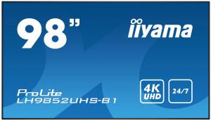 "98"" iiyama LH9850UHS-B1 - S-IPS,4K UHD,8ms,500cd/m2, 1300:1, 16:9, komponent., HDMI, DP, USB, RS232, repro."