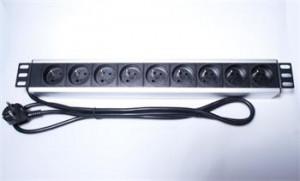 """PremiumCord Panel napájecí do 19"""" racku 1.5U, 9x230V, 2m kabe"""
