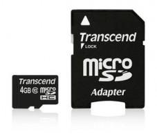 Transcend Micro SDHC karta 4GB Class 10 + Adaptér (TS4GUSDHC10)