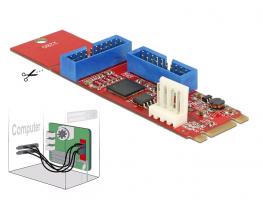 Delock Převodník M.2 Key B+M samec > 2 x USB 3.0 Pin konektor