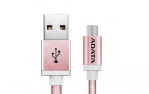 ADATA Micro USB kabel pletený 1m růžový (AMUCAL-100CMK-CRG)