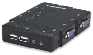 MANHATTAN4-Port Compact KVM Switch, USB, Audio