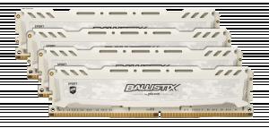 Ballistix Sport LT 32GB DDR4 KIT 8GBx4 3000 DIMM 288pin white stříbrná