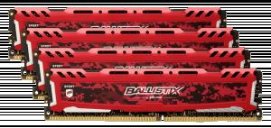Ballistix Sport LT 32GB DDR4 KIT 8GBx4 3200 DIMM 288pin červená