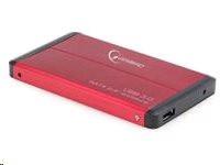 """Gembird case pro 2.5"""" SATA disk - USB 3.0, červený hliník"""