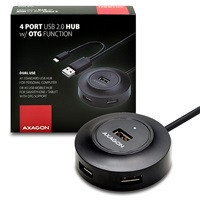 AXAGON - HUE-X6GB 4x USB2.0 hub 80cm cable + micro USB OTG BLACK