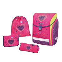 Herlitz Školní batoh midi plus Pink Hearts - set