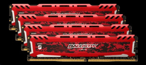 Ballistix Sport LT 32GB DDR4 KIT 8GBx4 3000 DIMM 288pin red stříbrná