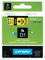 Dymo páska D1 6 mm x 7 m černý tisk, žlutá páska 43618