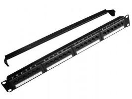 "Gembird 19"" patch panel 24 port 1U cat.5e s rear kabel management, černá barva (NPP-C524CM-001)"