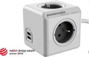 Zásuvka PowerCube prodlužovací přívod 1,5m-4zásuvka+2xUSB, hnědá/šedá, 3500W, 220-240V, 16A (PWC-PUSB)
