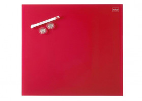 NOBO Diamond board 45x45 cm, red, glass, magnetic