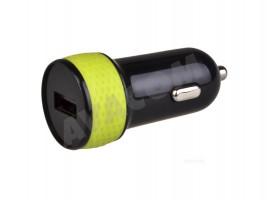 Nabíjecí adaptér do auta s výstupem USB 5V/1A, černo-zelená barva