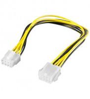 PremiumCord Prodloužení napájecího kabelu, 8 pinů, délka 28cm (4040849513619)