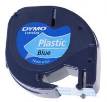 Dymo S0721650, černý tisk/modrý podklad, 4m, 12mm, LetraTag plastová páska
