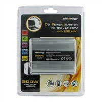 Whitenergy Napěťový měnič AC/DC z 12V na 230V 200 W, USB, ad. do autozapalovače - neoriginální (06577)