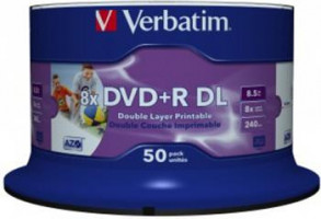 Verbatim DVD+R DL, 50-pack | 8,5GB | 8x | wide printable surface | spindle