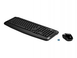 HP bezdrátový Deskset 300, Sada klávesnice CZ, bezdrátová, černá