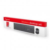 Gembird bezdrátová sada slim klávesnice + myš 2.4GHz, US rozložení kláves, černá (KBS-WCH-01)