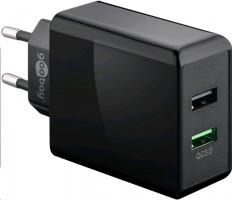 Dual-USB quick charger USB/QC3.0 (28W) black