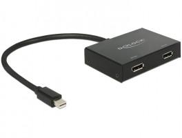 DeLOCK 87695 0.3m Mini DisplayPort 2 x DisplayPort adaptér k video kabelům černá