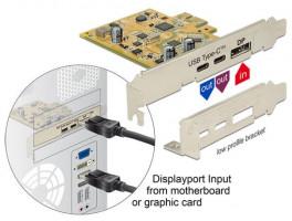 Delock PCI Express Karta > 1 x externí USB Type-C™ 3.1 samice + 1 x externí USB Type-C™ 3.1 (DP Alt Mód) samice