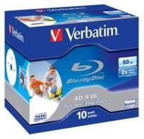 Verbatim BD-R Blu-Ray/ DL 50GB/ 6x Wide Pprintable Box 10ks