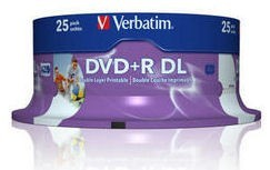 Verbatim DVD+R DL, 25-pack / 8.5GB / 8x / printable / spindle