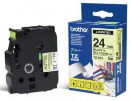Brother páska TZ-C51 - 24mm x 8m - signální žlutá / černý text - laminovaná - originální (TZE-C51)