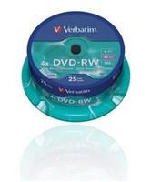 Verbatim DVD+RW, 25-pack / 4.7GB / 4x / spindle (V43489)