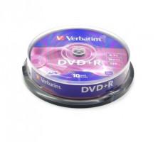 Verbatim DVD+R, 10 ks, 4,7 GB, 16x, matná stříbrná