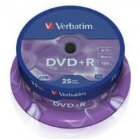 Verbatim DVD+R, 25-pack / 4.7GB / 16x / spindle / matná stříbrná