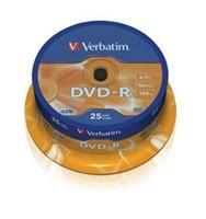 Verbatim DVD-R, 25-pack / 4.7GB / 16x / spindle / matná stříbrná