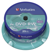 VERBATIM DVD-RW(25-pack)Spindle/4x/4.7GB
