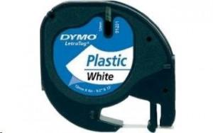 Dymo polyesterová páska 12mm x 4m - černý tisk, bílá páska 91221