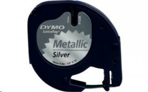 Dymo LetraTAG páska 12mm x 4m černý tisk, stříbrná (metalická) páska 91228