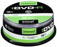 1x25 Intenso DVD-R 4,7GB 16x Speed, Cakebox (4101154)