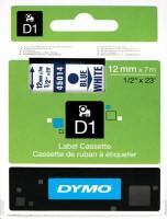 Dymo páska D1 12mm x 7m modrý tisk, bílá páska 45014