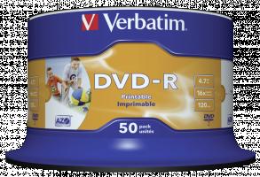 1x50 Verbatim DVD-R 4,7GB 16x Speed, photo printable (43533)