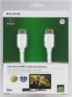 Belkin kabel HDMI HighSpeed 3D s Ethernetem, zlacený - 5m, bílý
