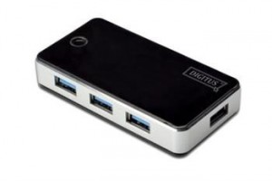Digitus USB 3.0 Hub 4-port + napájecí zdroj, černý