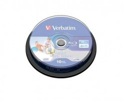 Verbatim 1x10 BD-R Blu-Ray 25GB 6x Speed DL Wide Printable CB