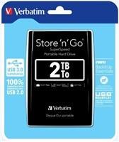 "Verbatim Hard Drive Store ""n"" Go USB 3.0 Portable 2,5"" 2 TB, External, černá barva"