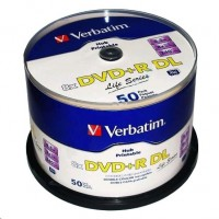 1x50 Verbatim DVD+R DL wide pr. 8x Speed, 8,5GB Life Series