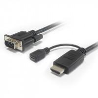 Kabelový převodník HDMI na VGA s napájecím micro USB konektorem - černý
