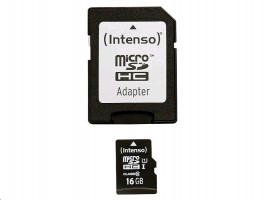MicroSDHC 16GB Intenso Premium CL10 UHS-I + adaptér