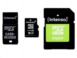 MicroSDHC 16GB Intenso CL10 + redukce SD