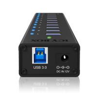 Icy Box 10 x Port USB 3.0 Hub s USB charge port, Black