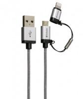 Verbatim Micro USB + Lightning Kabel Sync & Care 120cm stříbrná