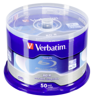 1x50 Verbatim BD-R Blu-Ray 25GB 6x Speed Datalife No-ID Cakebox